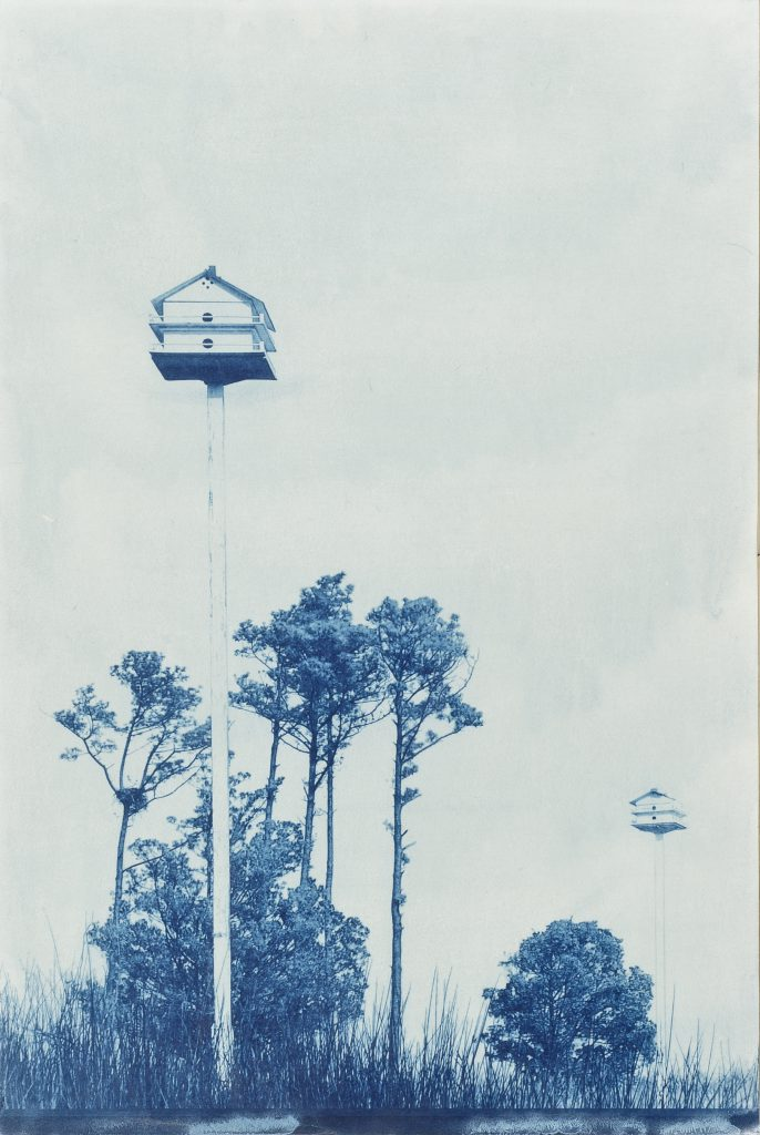 blue picture, two bird houses on poles & trees