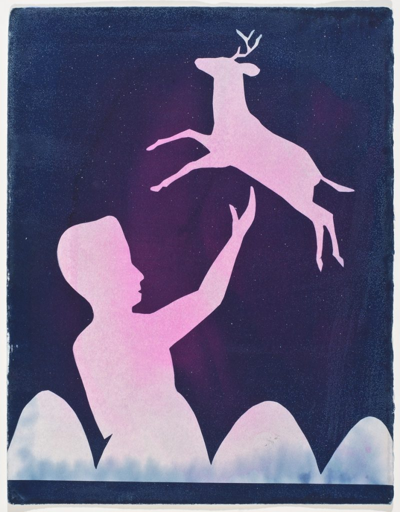 silhouette of deer leaping over boy with raised hand