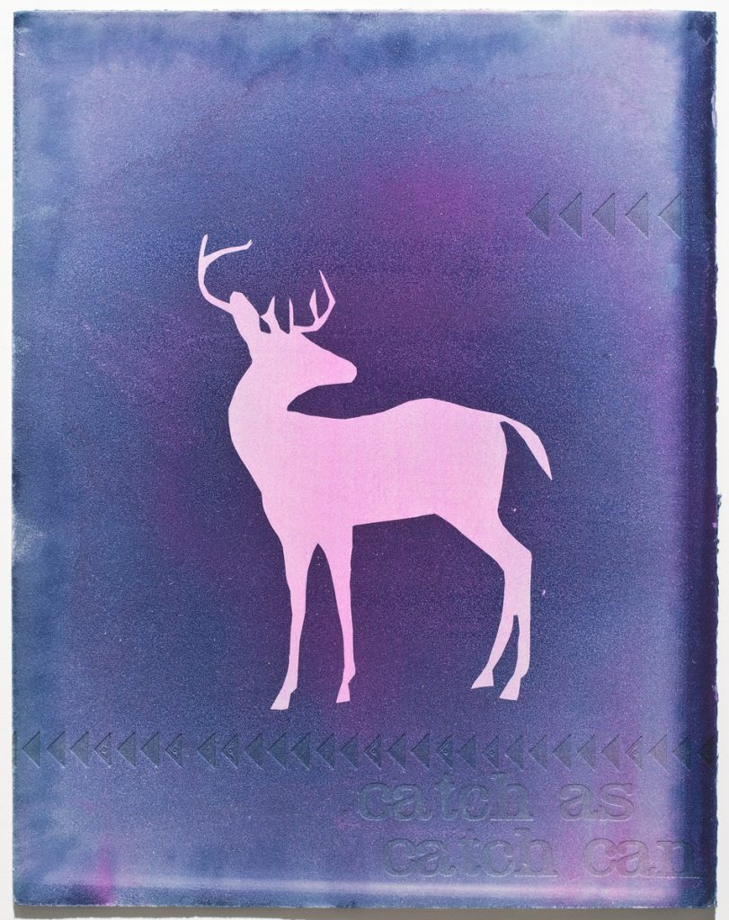 pale pink deer silhouette on blue background