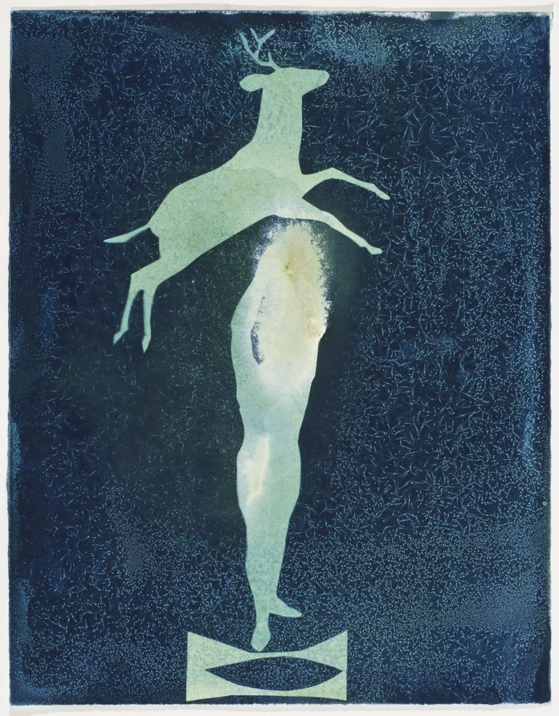 pale green deer silhouette leaping over standing acrobat on pedestal