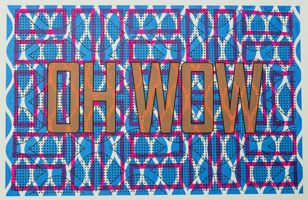 the words OH WOW, over patterned background