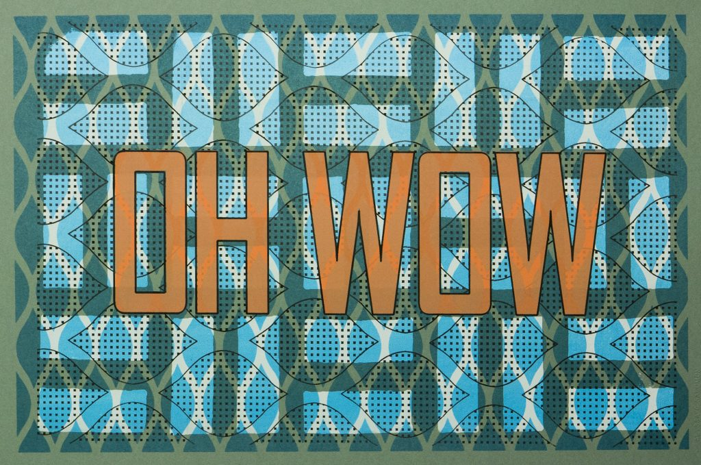 the phrase OH WOW over patterned background