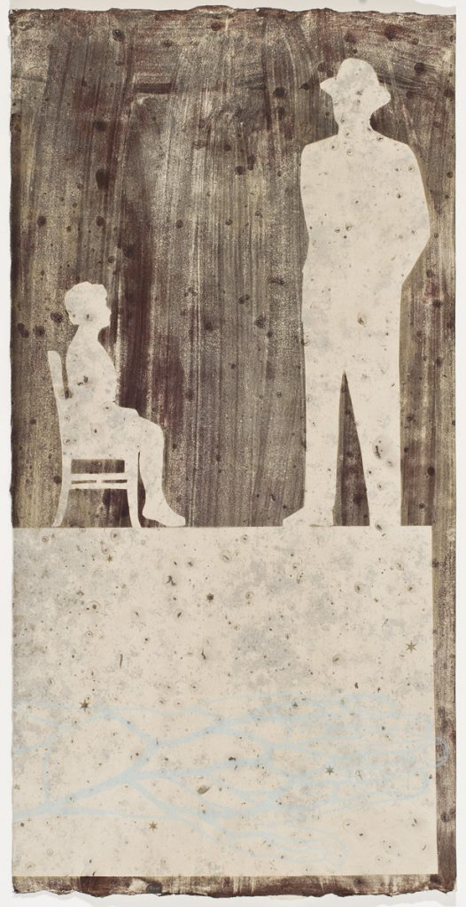 silhouette of seated woman & standing man wearing hat, with print of hand