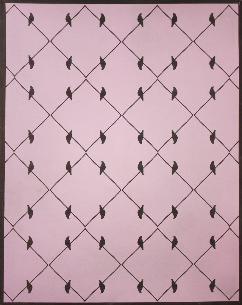 brown on pink pattern of grid & birds