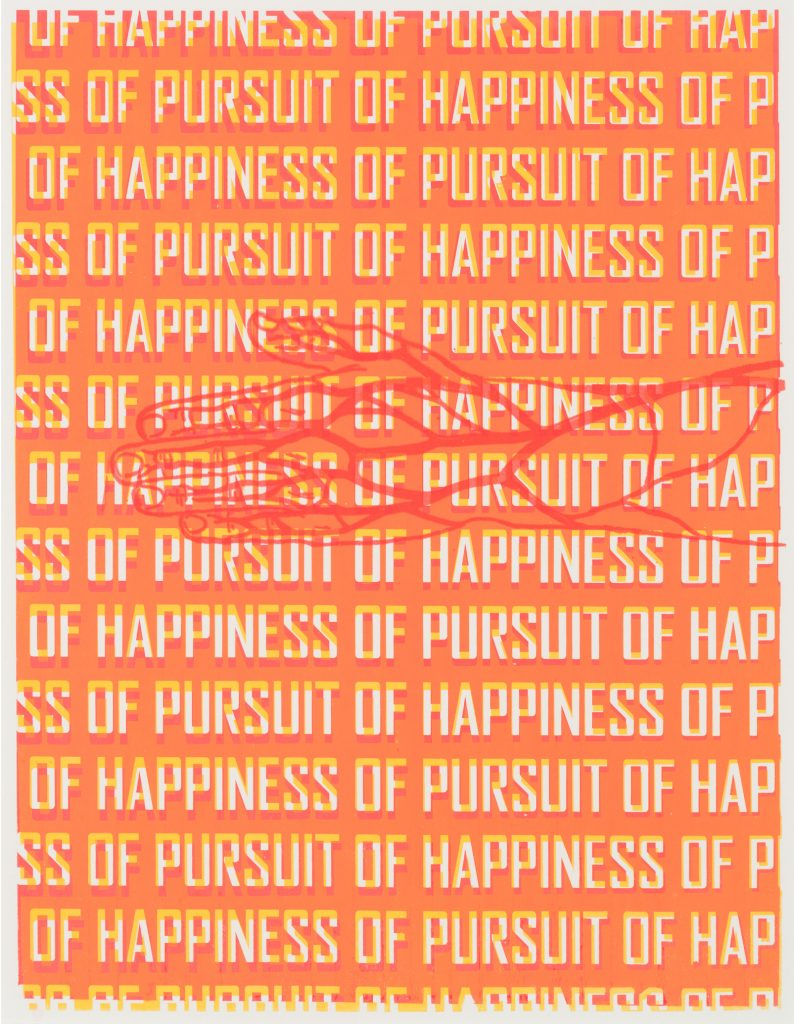 "orange text says ""Pursuit of Happiness"" with hand drawing"