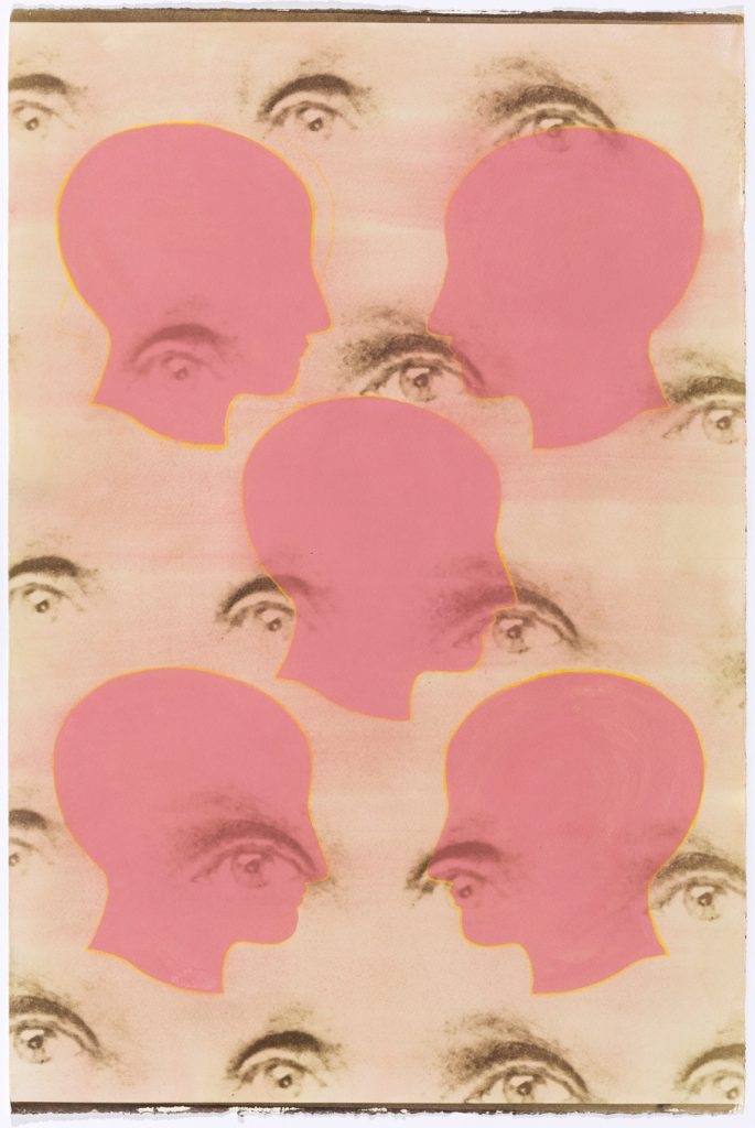 pattern of pink heads over pattern of brown eyes