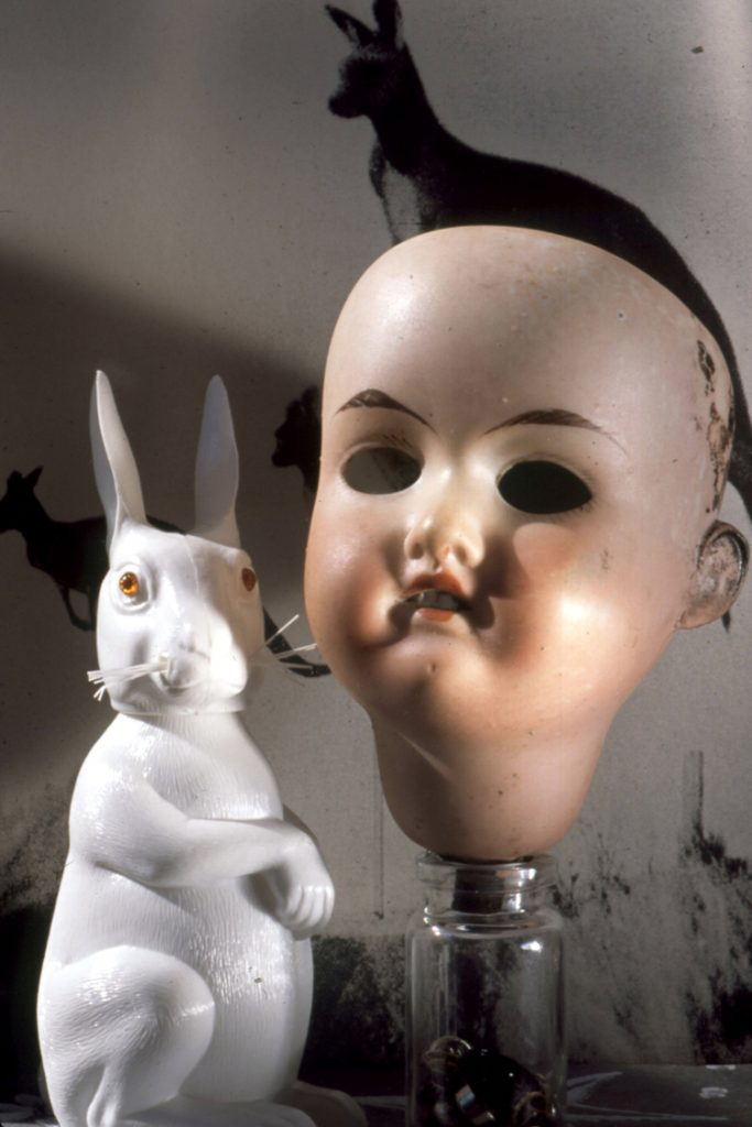 doll head with toy rabbit