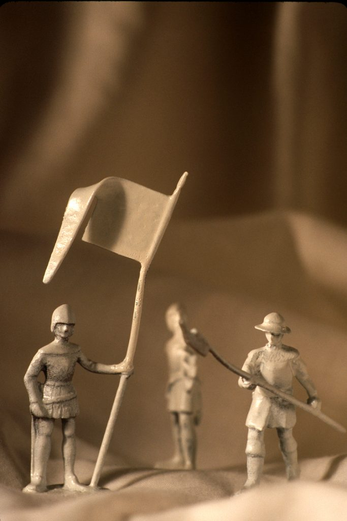 toy soldiers with banner