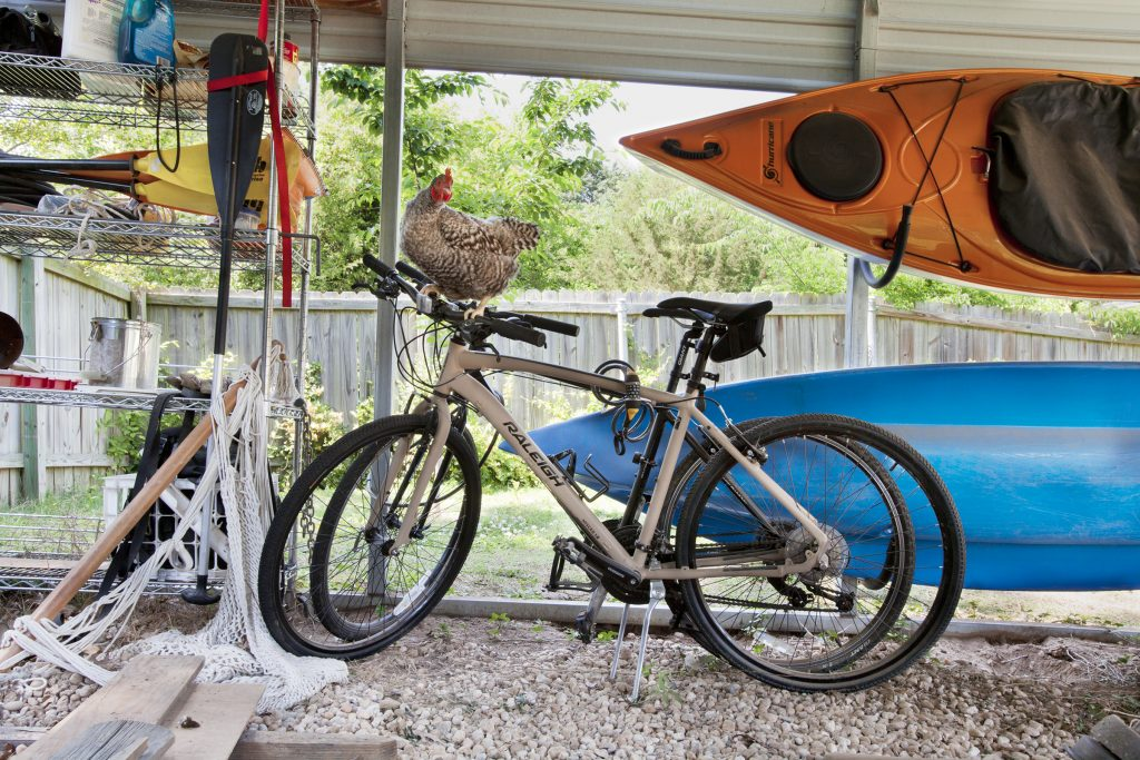 chicken on bicycle with kayaks & other stuff in carport