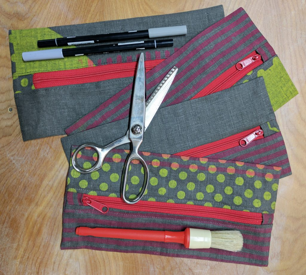 pencil case with scissors, pens, brush & more